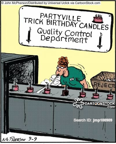 Party ville Trick Birthday Candles: Quality Control Department.,